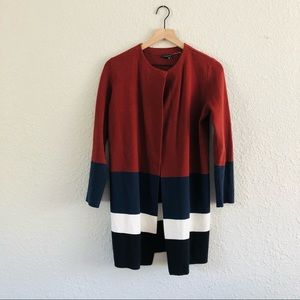 Ann Taylor Long Colorblocked Sweater Red Navy
